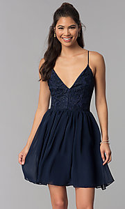 Image of navy v-neck homecoming short dress with lace bodice. Style: MCR-2581 Front Image