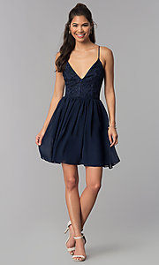 Image of navy v-neck homecoming short dress with lace bodice. Style: MCR-2581 Detail Image 3