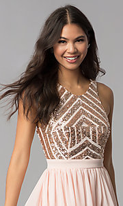 Image of sleeveless short rose gold homecoming dress. Style: MCR-2555 Detail Image 1