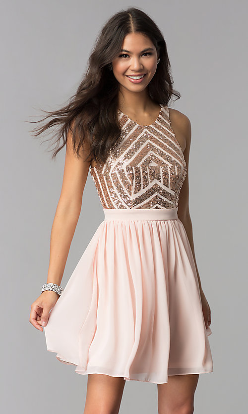 Image of sleeveless short rose gold homecoming dress. Style: MCR-2555 Front Image