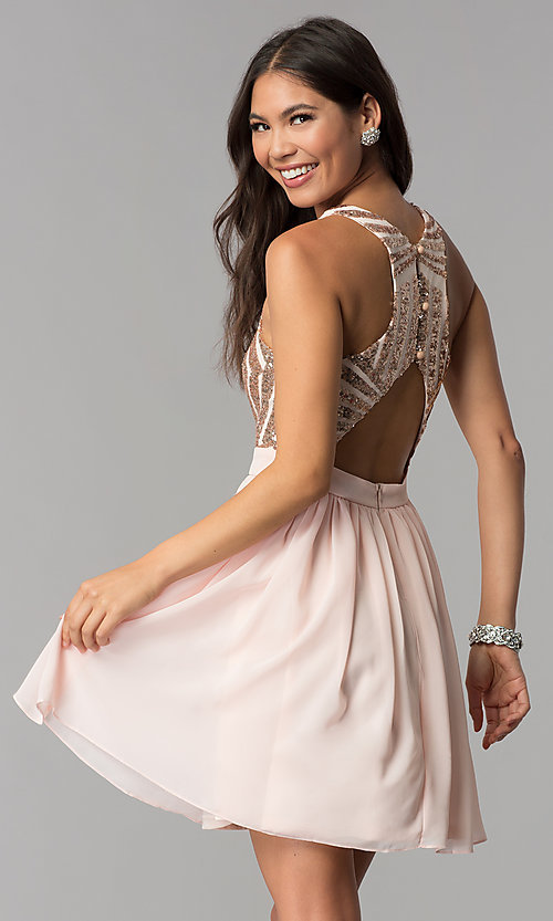 Image of sleeveless short rose gold homecoming dress. Style: MCR-2555 Back Image