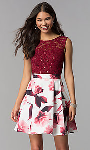 Image of short lace-bodice print-skirt homecoming dress. Style: MCR-2556 Front Image