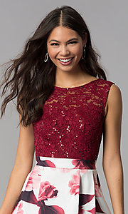 Image of short lace-bodice print-skirt homecoming dress. Style: MCR-2556 Detail Image 1