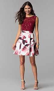 Image of short lace-bodice print-skirt homecoming dress. Style: MCR-2556 Detail Image 2