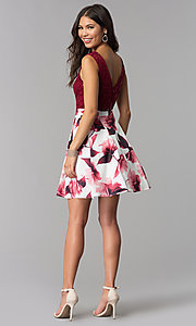 Image of short lace-bodice print-skirt homecoming dress. Style: MCR-2556 Detail Image 3