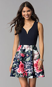 Image of sleeveless short homecoming dress with print skirt. Style: MCR-1995 Front Image