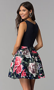 Image of sleeveless short homecoming dress with print skirt. Style: MCR-1995 Back Image