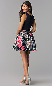 Image of sleeveless short homecoming dress with print skirt. Style: MCR-1995 Detail Image 3
