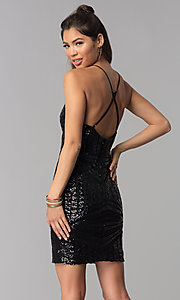 Image of sequin art-deco-design short homecoming party dress. Style: MCR-1990 Back Image