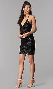 Image of sequin art-deco-design short homecoming party dress. Style: MCR-1990 Detail Image 2