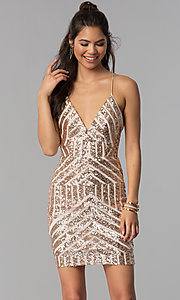 Image of sequin art-deco-design short homecoming party dress. Style: MCR-1990 Detail Image 3