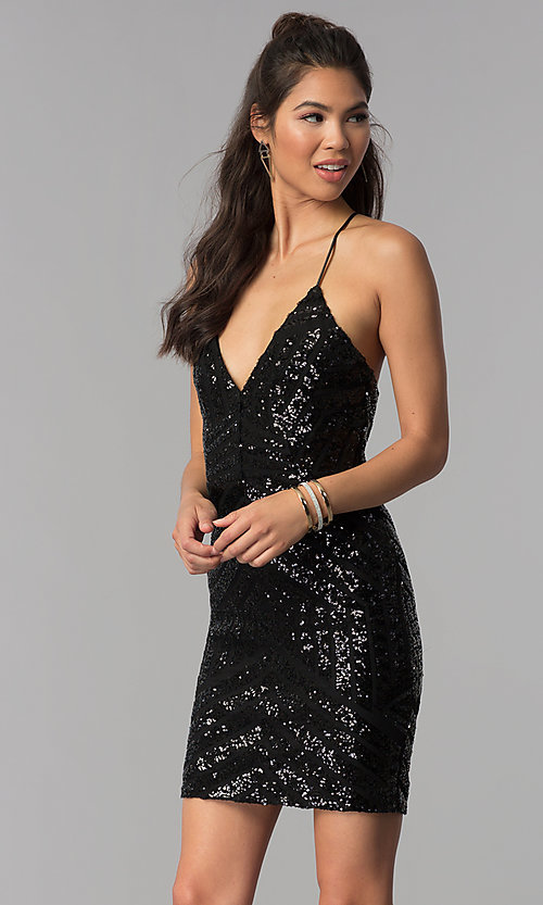 Image of sequin art-deco-design short homecoming party dress. Style: MCR-1990 Front Image