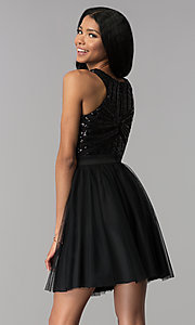 Image of sequin-pattern-bodice short homecoming dress. Style: MCR-2582 Back Image