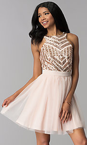 Image of sequin-pattern-bodice short homecoming dress. Style: MCR-2582 Front Image