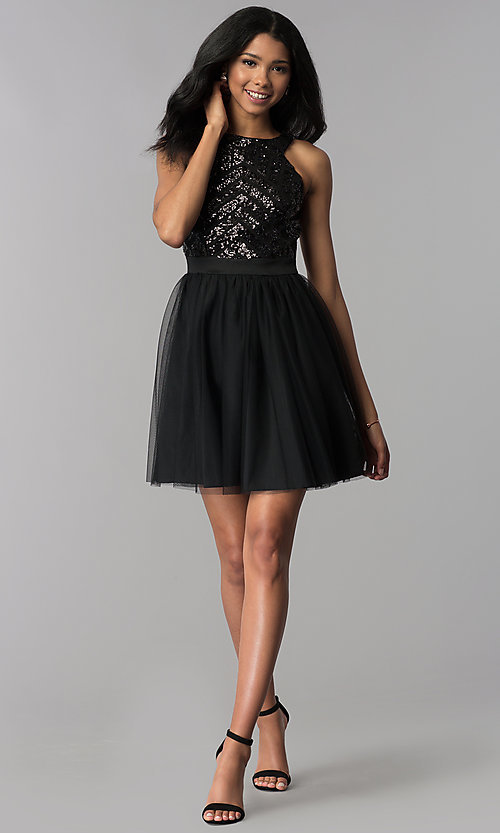 Image of sequin-pattern-bodice short homecoming dress. Style: MCR-2582 Detail Image 2