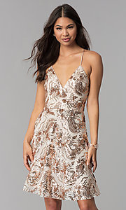 Image of v-neck short homecoming dress with sequins. Style: MCR-2586 Front Image
