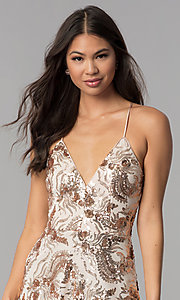 Image of v-neck short homecoming dress with sequins. Style: MCR-2586 Detail Image 1