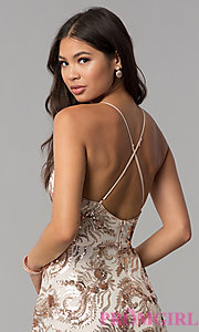 Image of v-neck short homecoming dress with sequins. Style: MCR-2586 Detail Image 2
