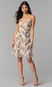 Image of v-neck short homecoming dress with sequins. Style: MCR-2586 Detail Image 3