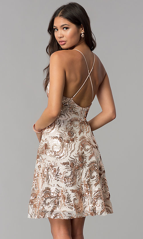 Image of v-neck short homecoming dress with sequins. Style: MCR-2586 Back Image