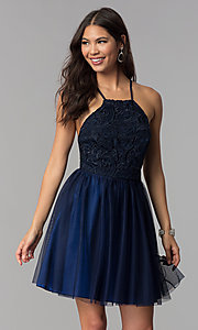 Image of short homecoming dress with lace bodice. Style: MCR-2570 Front Image