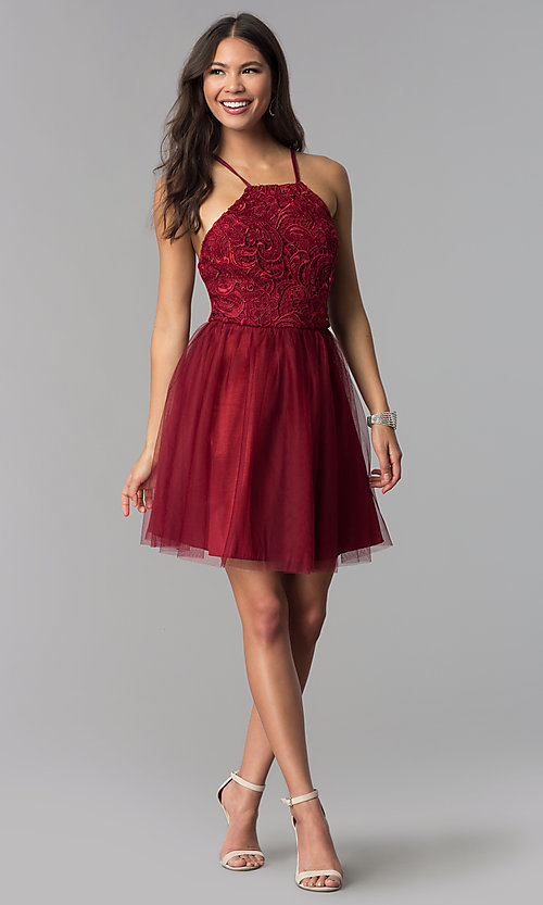 Image of short homecoming dress with lace bodice. Style: MCR-2570 Detail Image 1