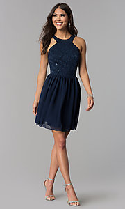 Image of navy blue short lace-bodice homecoming dress. Style: MCR-2553 Detail Image 2