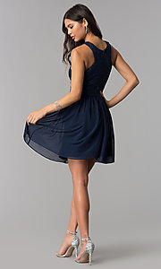 Image of navy blue short lace-bodice homecoming dress. Style: MCR-2553 Detail Image 3