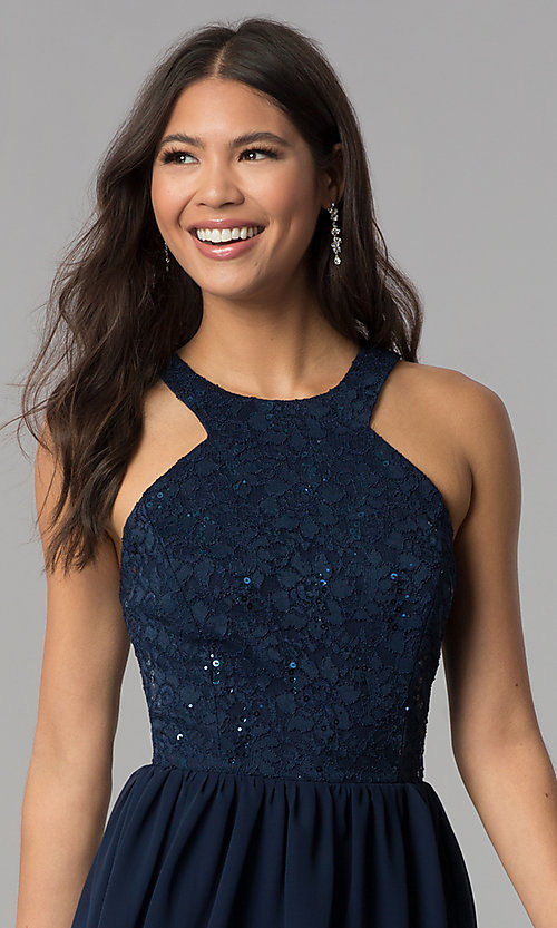 Image of navy blue short lace-bodice homecoming dress. Style: MCR-2553 Detail Image 1