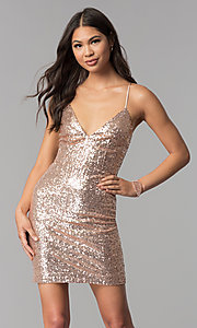 Image of short sequin v-neck homecoming party dress. Style: MCR-1994 Front Image