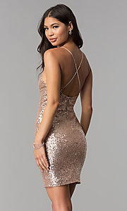 Image of short sequin v-neck homecoming party dress. Style: MCR-1994 Back Image