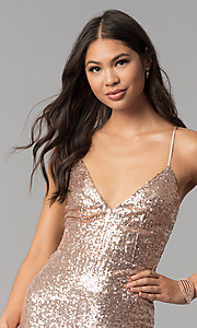 Image of short sequin v-neck homecoming party dress. Style: MCR-1994 Detail Image 1