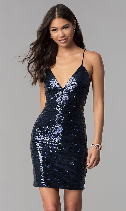 Image of short sequin v-neck homecoming party dress. Style: MCR-1994 Detail Image 2