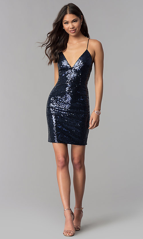 Image of short sequin v-neck homecoming party dress. Style: MCR-1994 Detail Image 3