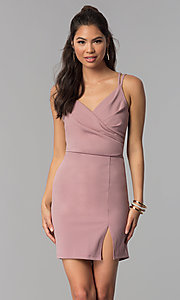 Image of short surplice-v-neck ruched homecoming party dress. Style: MCR-1972 Front Image