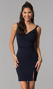 Image of short surplice-v-neck ruched homecoming party dress. Style: MCR-1972 Detail Image 3