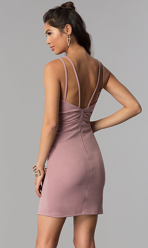 Image of short surplice-v-neck ruched homecoming party dress. Style: MCR-1972 Back Image