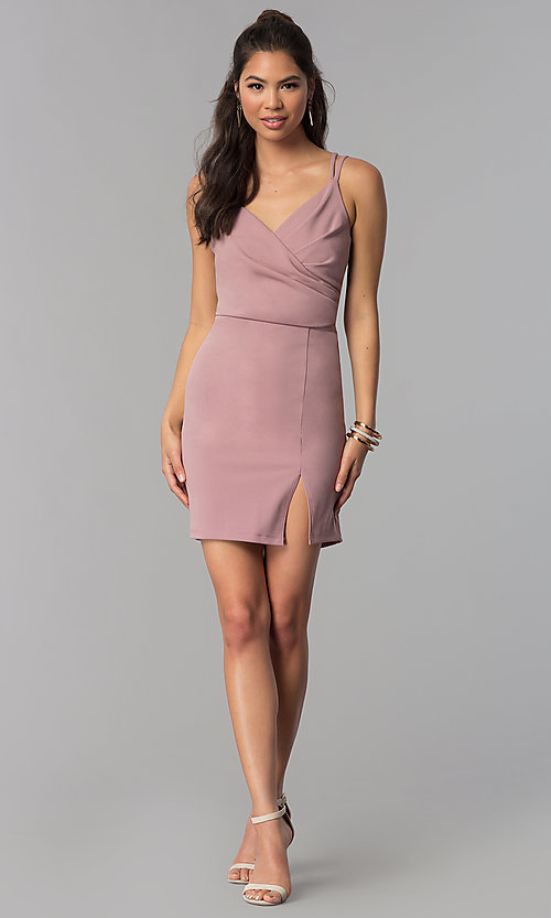Image of short surplice-v-neck ruched homecoming party dress. Style: MCR-1972 Detail Image 2