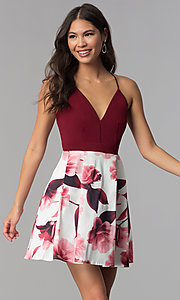 Image of v-neck short homecoming dress with print skirt. Style: MCR-1977 Front Image