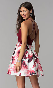 Image of v-neck short homecoming dress with print skirt. Style: MCR-1977 Back Image