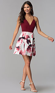 Image of v-neck short homecoming dress with print skirt. Style: MCR-1977 Detail Image 2