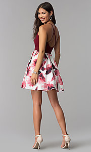 Image of v-neck short homecoming dress with print skirt. Style: MCR-1977 Detail Image 3