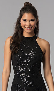 Image of a-line short black sequin homecoming dress. Style: MCR-2571 Detail Image 1