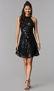Image of a-line short black sequin homecoming dress. Style: MCR-2571 Detail Image 3