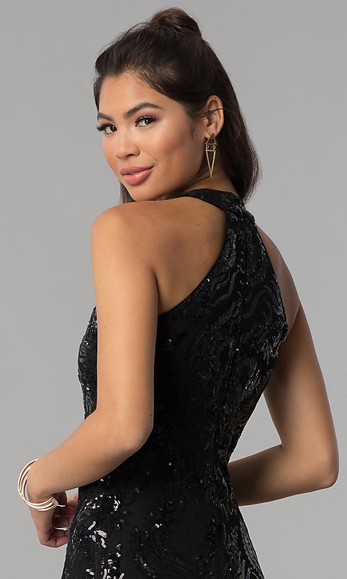 Image of a-line short black sequin homecoming dress. Style: MCR-2571 Detail Image 2