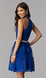 Image of short royal blue high-neck a-line homecoming dress. Style: MCR-2577 Back Image
