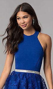 Image of short royal blue high-neck a-line homecoming dress. Style: MCR-2577 Detail Image 1