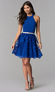 Image of short royal blue high-neck a-line homecoming dress. Style: MCR-2577 Detail Image 2