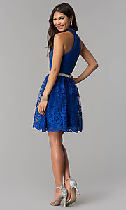 Image of short royal blue high-neck a-line homecoming dress. Style: MCR-2577 Detail Image 3