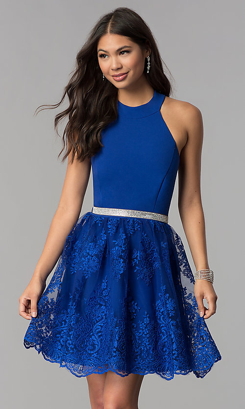 Image of short royal blue high-neck a-line homecoming dress. Style: MCR-2577 Front Image
